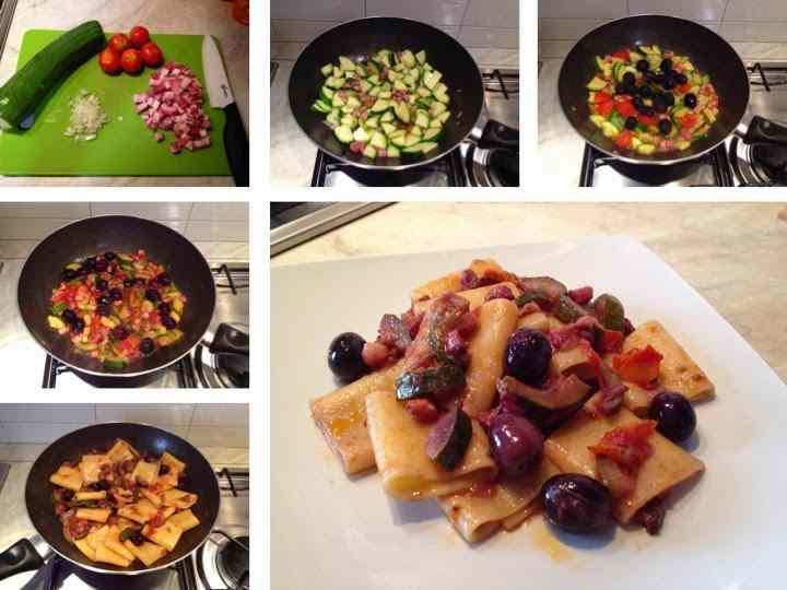 Ricetta: Paccheri zucchine, pancetta e olive