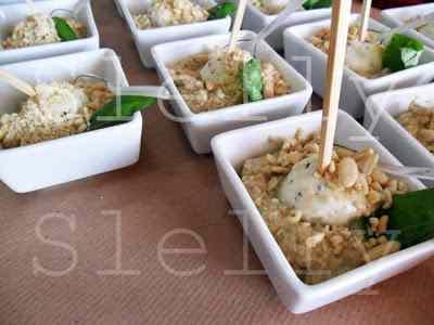 Ricetta: MELANZARELLA - Crema di melanzane con pinoli e sfera di mozzarella al basilico