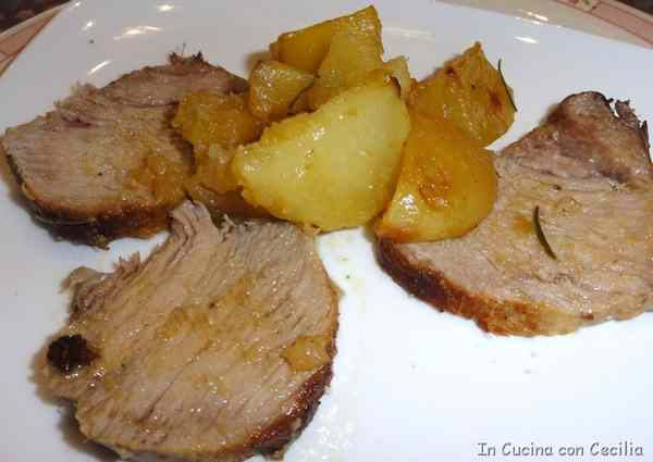 Arrosto di vitello al limone con patate