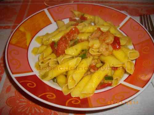 Garganelli con gamberi e zucchine
