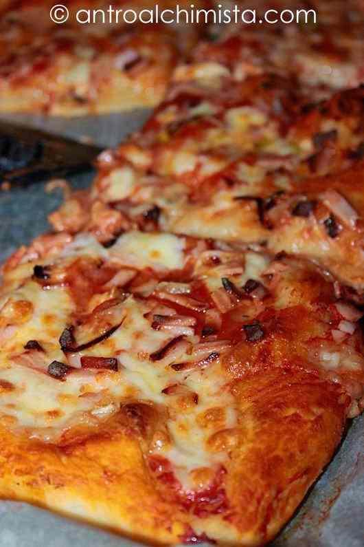 Pizza alta con lyoner, cipolla e parmigiano