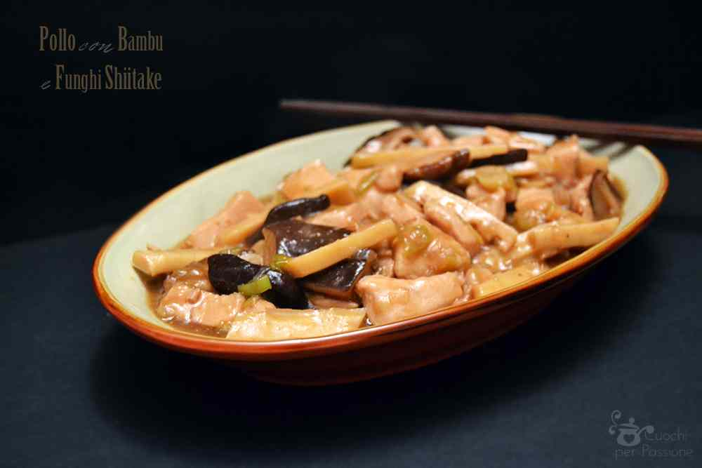 Ricetta: Pollo con bambu e funghi shiitake