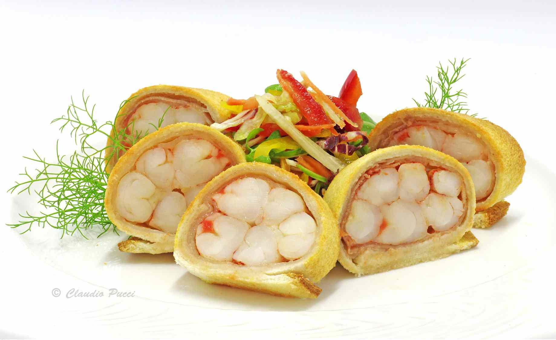 Ricetta: Gamberoni con lardo di colonnata in crosta di pane