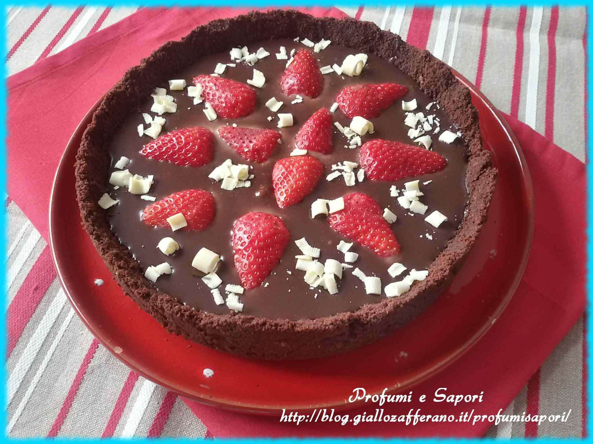 Ricetta: Crostata al cioccolato e fragole senza cottura