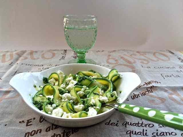 Ricetta: Tagliatelle di zucchine al pesto