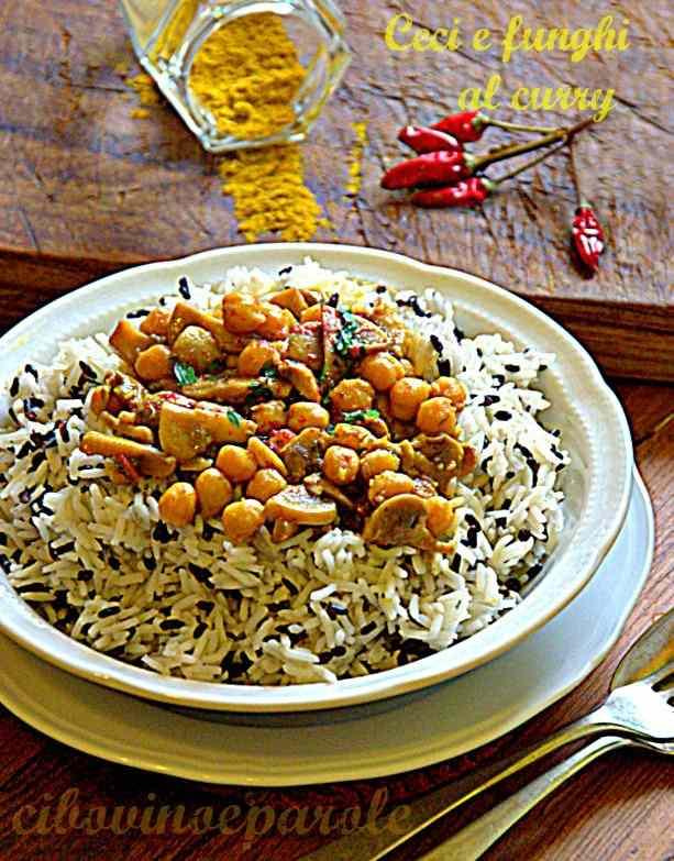 Ceci e funghi al curry