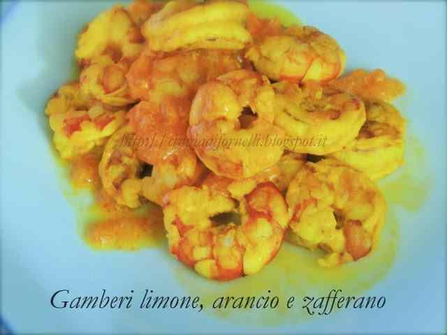 Ricetta: Gamberi con arancio. limone e zafferano