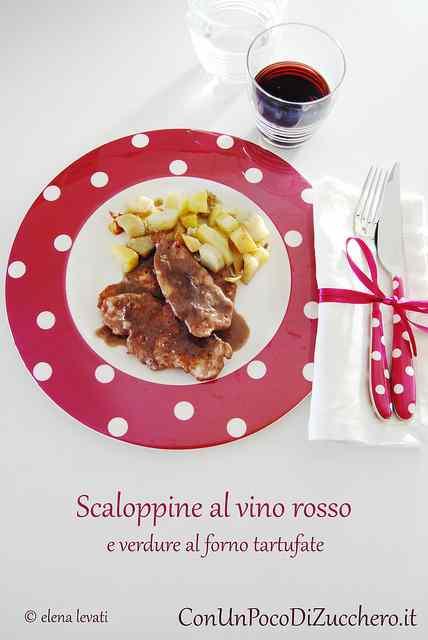 Ricetta: Scaloppine al vino rosso e verdure al forno