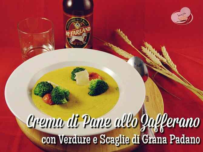 Ricetta: Crema di Pane allo Zafferano, con Verdure e Scaglie di Grana Padano