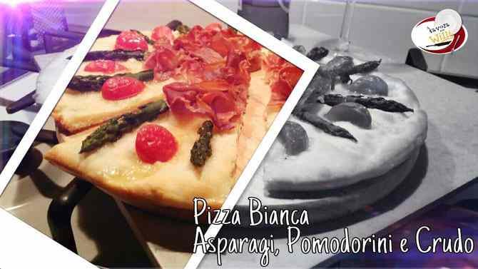Ricetta: Pizza bianca asparagi, pomodorini e crudo