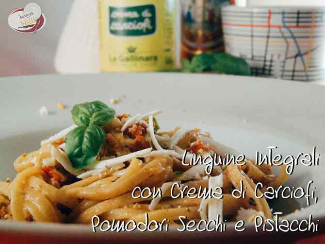 Lunguine integrali con crema di carciofi, pomodori secchi e pistacchi