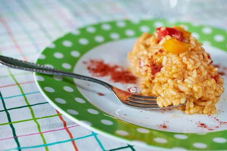 Ricetta: risotto ai peperoni e tortino di piselli per Instamamme