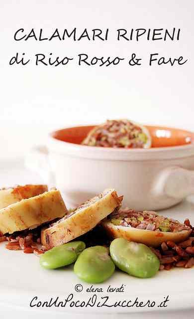 Ricetta: Calamari ripieni di riso rosso e fave