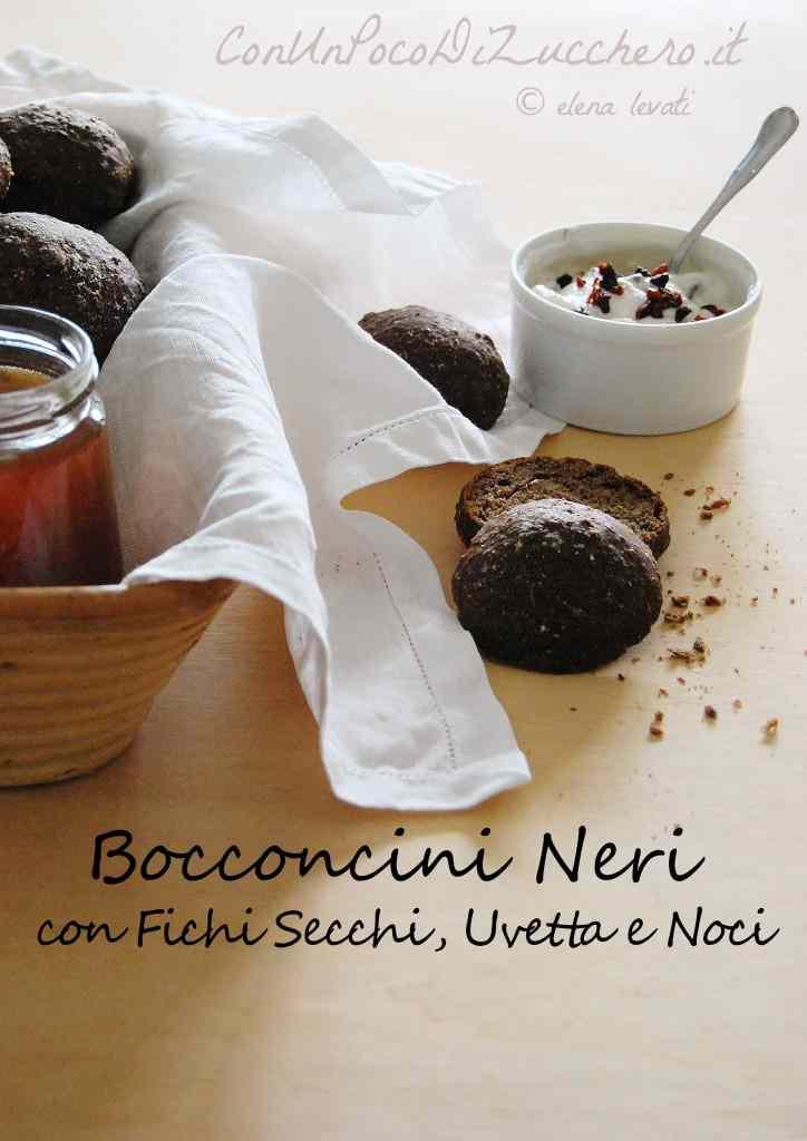 Ricetta: Bocconcini di pane nero integrale con fichi secchi, uvetta e noci (senza impasto)