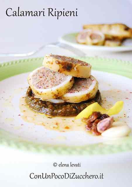 Ricetta: Calamari ripieni con uva passa, mandorle e pistacchi