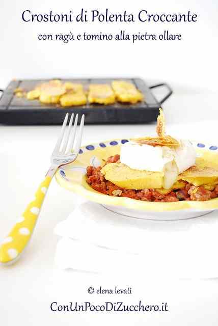 Ricetta: Riciclare la polenta: Crostoni di polenta con ragu e tomino