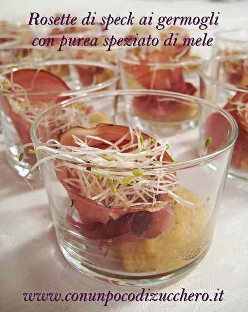 Ricetta: Rosette di speck ai germogli con purea speziato di mele