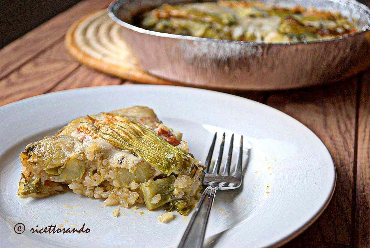 Ricetta: Timballo di riso con tenerumi e fiori di zucchina