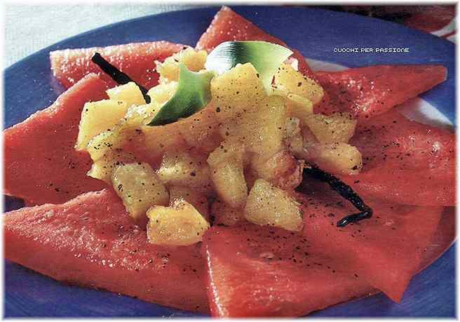 Ricetta: Carpaccio di Anguria con Ananas alla Vaniglia
