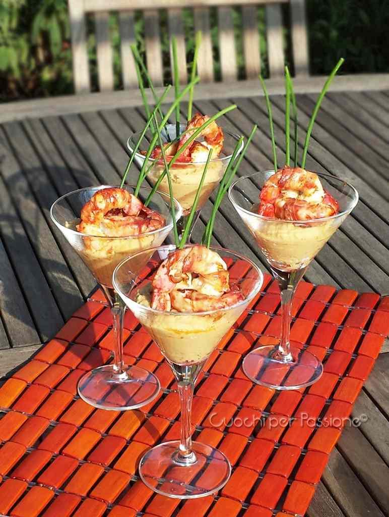 Ricetta: Hummus con Gamberi lardellati