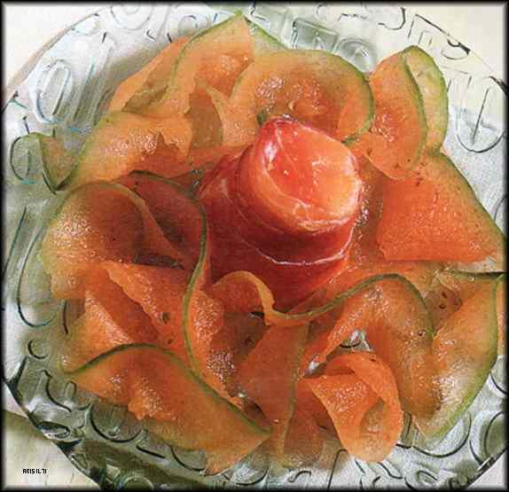 Ricetta: Timballini di Prosciutto con Carpaccio di Melone