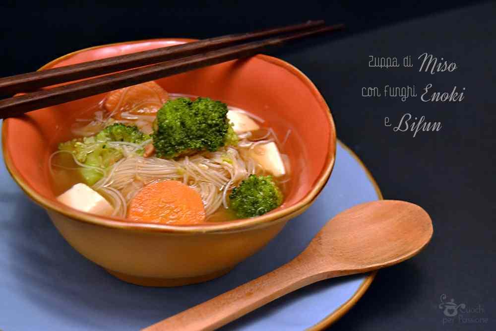 Ricetta: Zuppa di Miso con Funghi Enoki e Bifun