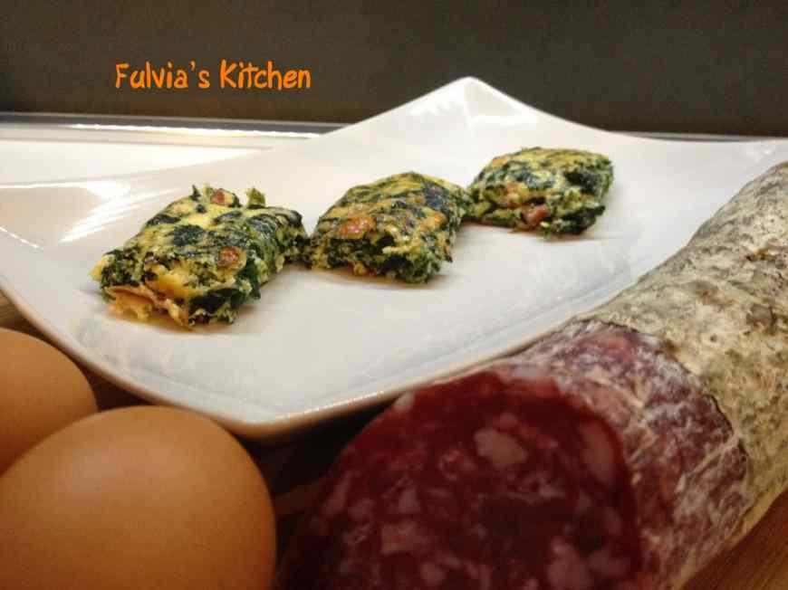 Ricetta: Cubetti di frittata al forno con spinaci