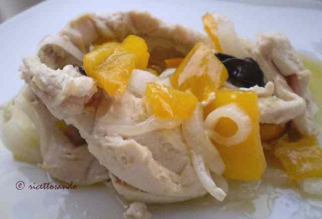 Ricetta: Pollo in filetti con peperoni a bagnomaria