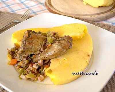 Ricetta: Fagianella in salmi con porri e pancetta