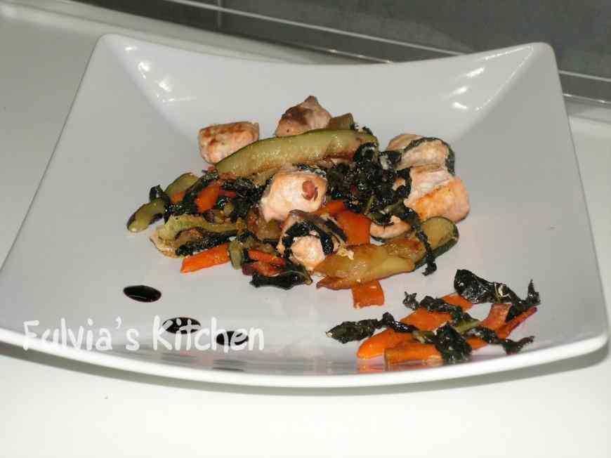Ricetta: Bocconcini di salmone con stick di verdure