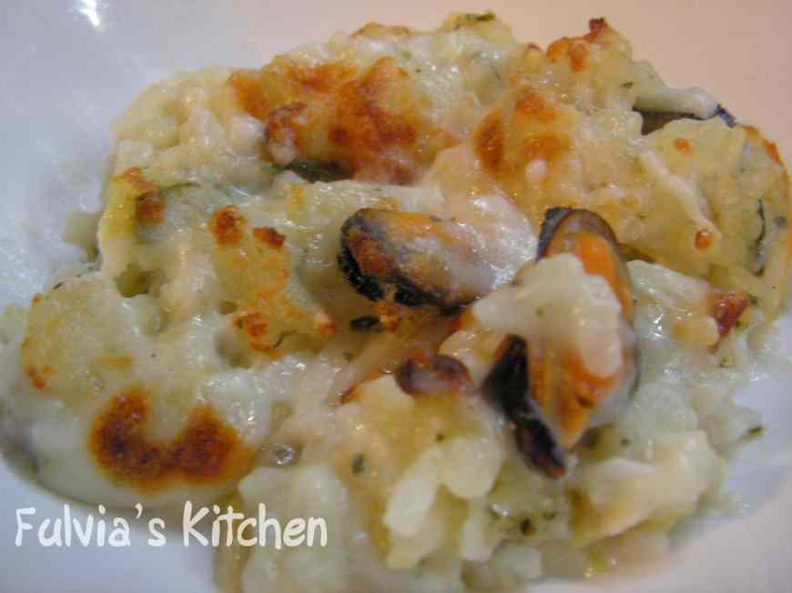 Ricetta: Risotto gratinato con zucchine, cozze e vongole