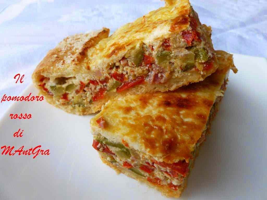 Ricetta: Torta di peperoni e zucchine