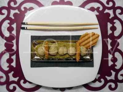 Ricetta: O-ren ishii - gnocchi di merluzzo cinogiappoamericani con frullato di fagiolini al wasabi.
