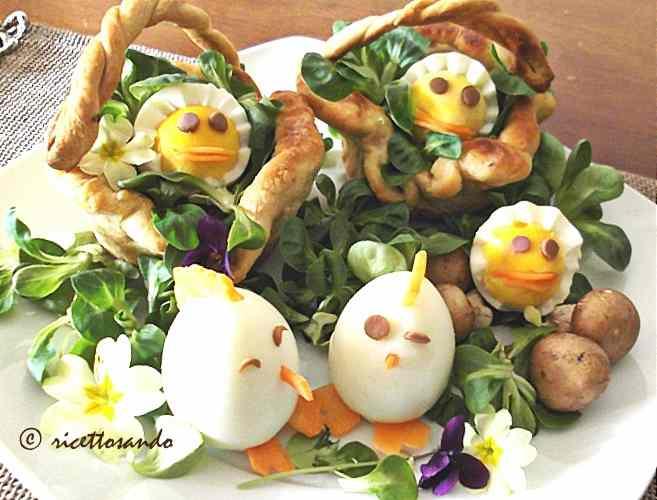 Ricetta: Uova sode decorate e insalata pasqualina