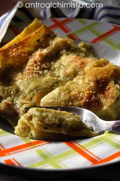 Ricetta: Lasagne alla Crema di Pesto e Ricotta con Scagliette di Mandorle Tostate