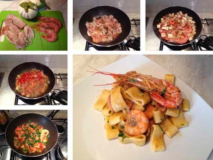 Ricetta: Calamarata con gamberi, totani e melanzana