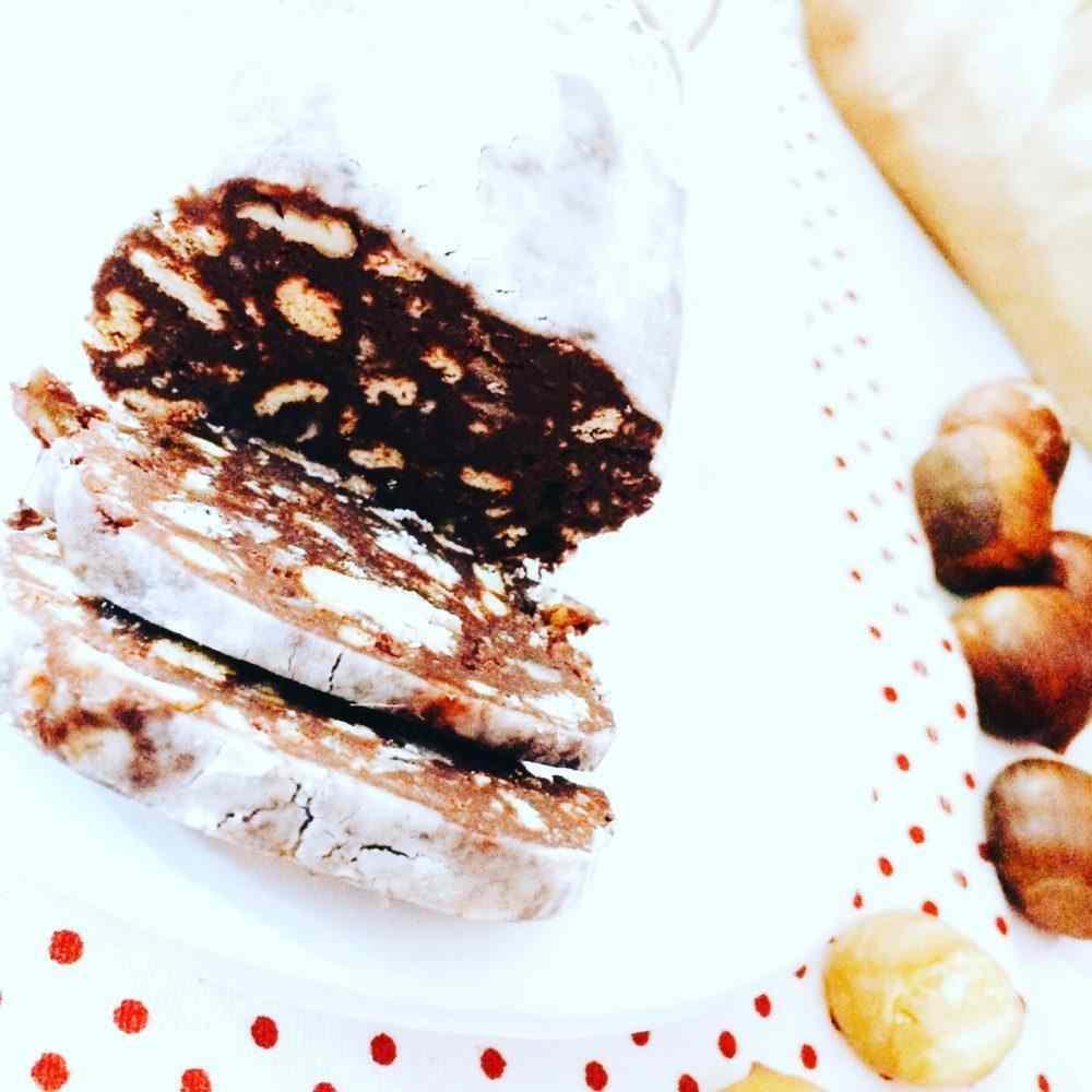 Salame di cioccolato e castagne (senza uova)