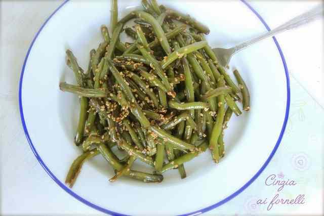 Fagiolini con sesamo e salsa di soia col bimby