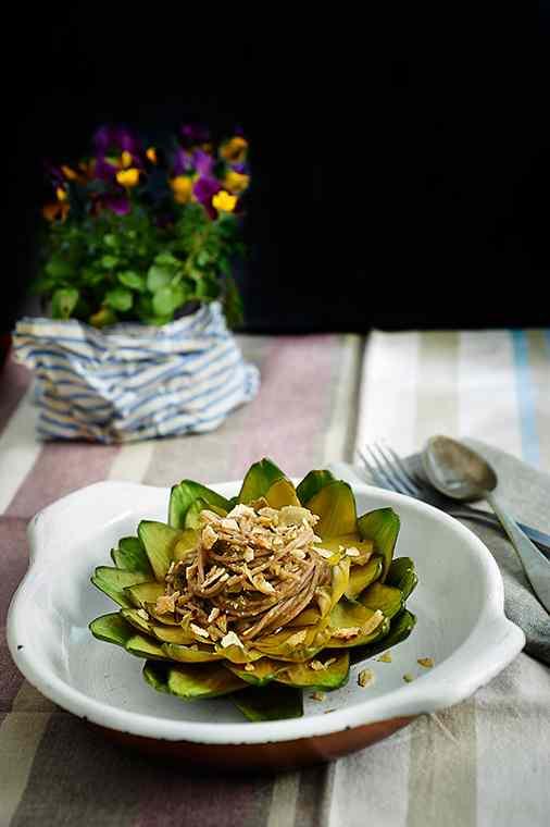 Spaghetti di grano saraceno ai carciofi