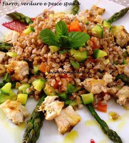 Farro, verdure  pescespada