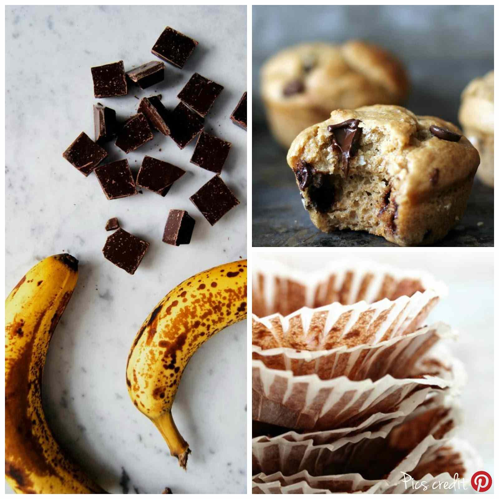 Ricetta: Muffins cioccolato e banana / choco  banana muffins recipe