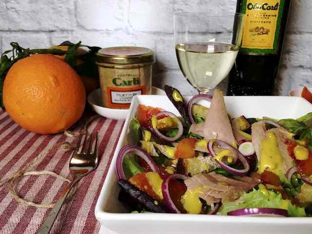 Tonno in insalata con maionese tiepida all\'arancia rossa