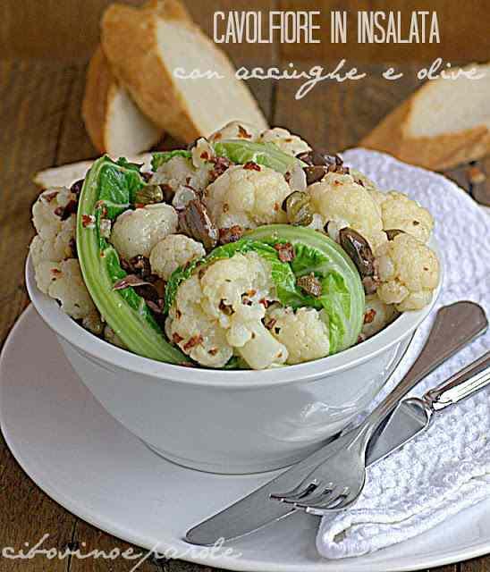 Ricetta: Cavolfiore in insalata con acciughe e olive