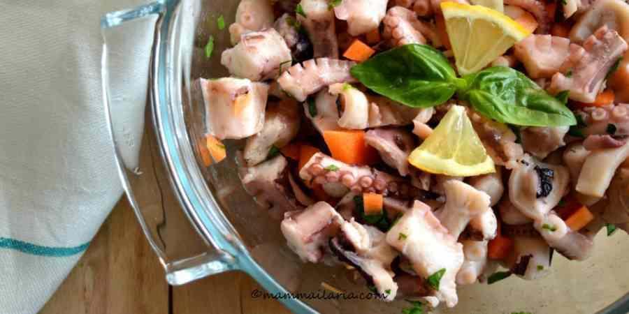 Insalata di polpo con carote ed erbette aromatiche