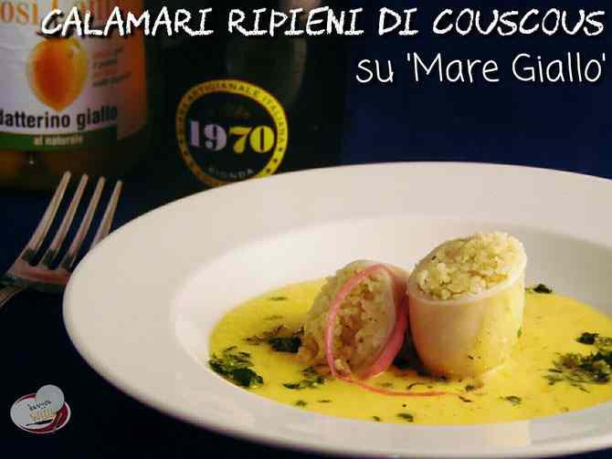 Calamari ripieni di couscous su \'mare giallo\'