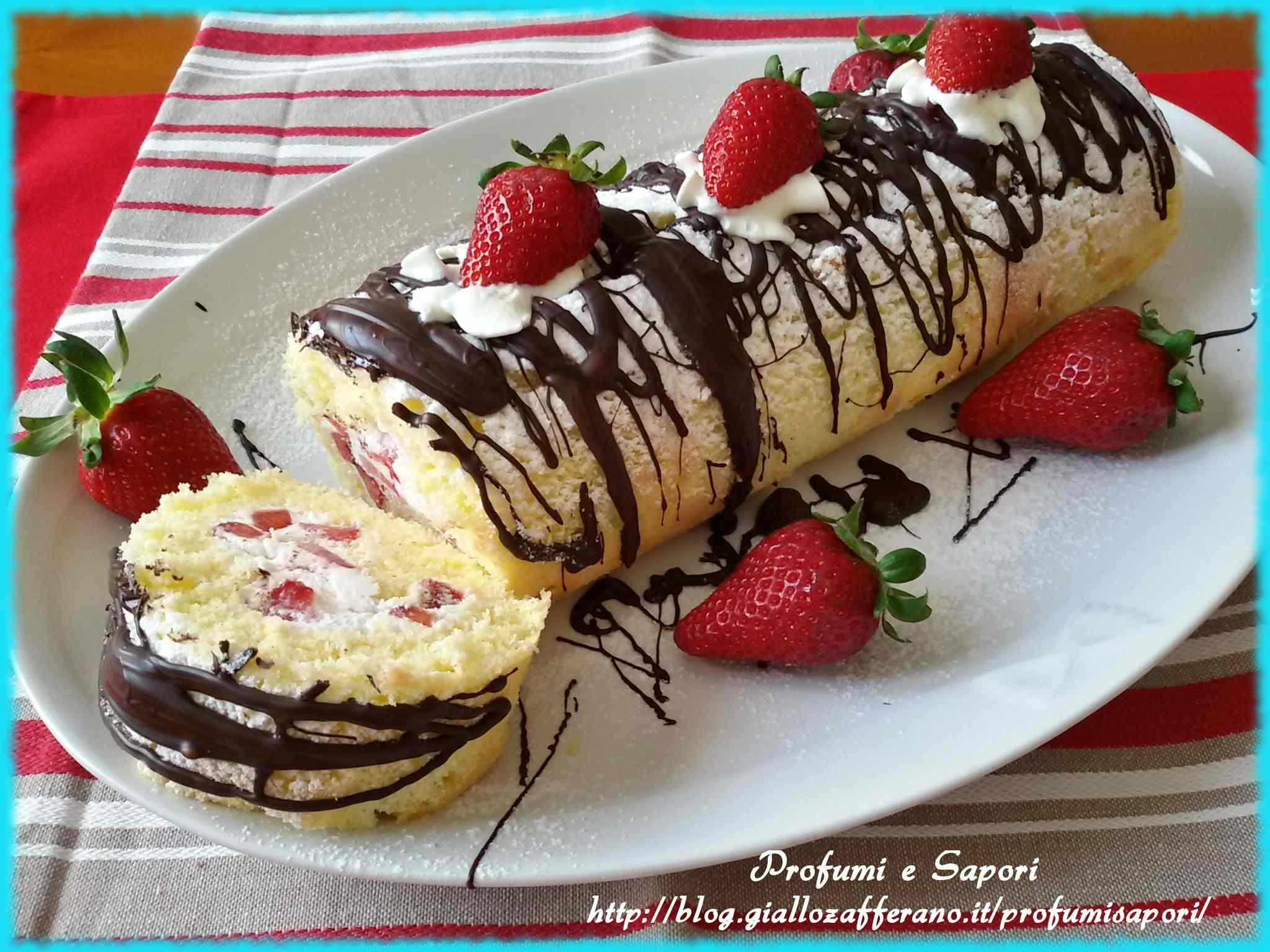 Rotolo panna fragole e cioccolato