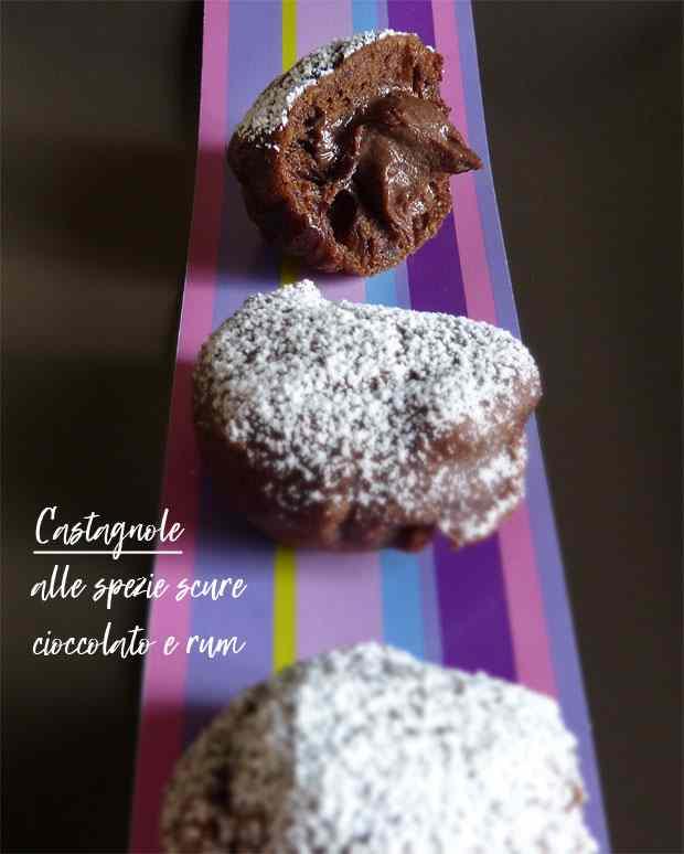Castagnole alle spezie scure, cioccolato e rum