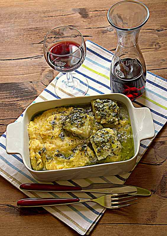 Merluzzo al verde con polenta- salt cod, in green sauce with polenta